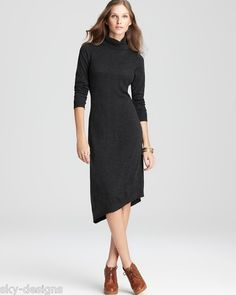 Eileen Fisher Charcoal Merino Wool Jersey Turtleneck Sweater Dress Size M | try this in the charcoal merino rib knit which is $20NZD per metre or about $15USD per metre. This is for a New Zealand merino wool fabric.
