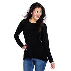 8d5fdff8af94d WD.NY Sweater Knit Long Sleeved Open Cable Back Hi-Lo Top on sale at evine .com