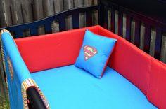 CUSTOM Superman Inspired Comic Book Baby Bedding - 4 Piece Crib Bedding Set - Geek Baby Nursery - Handmade on Etsy, $300.00