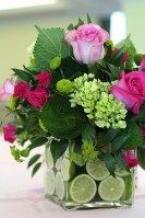 hot pink and green with lemons in vase keeps them fresh.