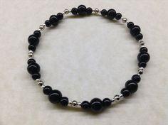 Handmade BLACK ONYX 4mm & 6mm Gemstone Bead BRACELET - Healing Chakra Strength