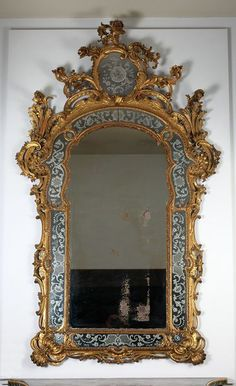 Mirror Place of origin: Genoa (city), Italy (made) Date: (made) Artist/Maker: Unknown (production) Trumeau Mirror, Ornate Mirror, Old Mirrors, Vintage Mirrors, Vintage Wood, Mirror Mirror, Shabby Chic Mirror, Mirror Plates, Home Decor Mirrors