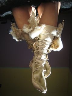MidCalf Wedding Moccasins by TreadLightGear on Etsy, $600.00  No thoughts of buying this but I could paint the picture in canvass!