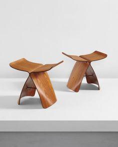 "SORI YANAGI Pair of ""Butterfly"" stools, designed 1954 Rosewood-veneered plywood, brass. Each: 15 1/2 x 16 1/2 x 12 in. (39.4 x 41.9 x 30.5 cm) Produced by Tendo Mokko, Tendo, Japan."
