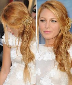 ♡ Blake Lively. This version of her strawberry blonde hair would suit me best, more golden than fire. Must learn how to do that messy side braid style!