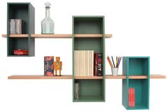 Etagère Max XL / Double - 3 caissons + 2 étageres Vert pin / Vert reseda / Turquoise 6033 - Compagnie http://www.homelisty.com/bibliotheque-compagnie-pas-chere/