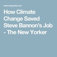 How Climate Change Saved Steve Bannon's Job - The New Yorker