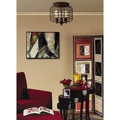Larkin Industrial Rust Metal Cage Ceiling Light - #3X108 | www.lampsplus.com