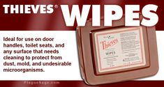 Thieves Wipes from Young Living. Keep a pack handy in your bathroom, kitchen, car, office, or anywhere else you want to keep your environment clean.