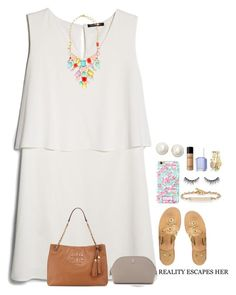 """""""A dress set cause my mom wouldn't let me wear one today """" by remiii13 ❤ liked on Polyvore featuring MANGO, Jack Rogers, Kate Spade, Hoorsenbuhs, Bare Escentuals, Essie, Bourbon and Boweties and Tory Burch"""