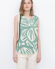 ZARA - WOMAN - FLOWER AND RIBBON PRINT TOP