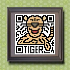 582 Tiger Asian zodiac animal as QR code by TwoBananasArt on Etsy, $20.00