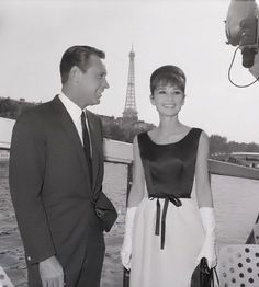 Many of Audrey Hepburn's film alter egos live in or travel to Paris. Here she is with her costar from 'Paris When It Sizzles', William Holden. The previous movie they were in together, 'Sabrina', Audrey goes to Paris & comes back a new woman