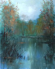 autumn, landscape, pond, trees, water surface, oil painting, art, canvas, palette knife, impressionism, original, modern, contemporary