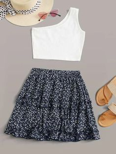 Cute Skirt Outfits, Really Cute Outfits, Cute Comfy Outfits, Crop Top Outfits, Cute Summer Outfits, Girly Outfits, Pretty Outfits, Stylish Outfits, Teenage Girl Outfits