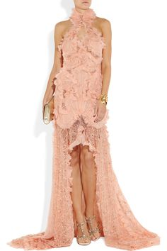 Alexander McQueen|Ruffled bead-embellished chiffon and lace gown