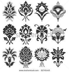 Vintage Flower Set. Vector Illustration. - 92745445 : Shutterstock
