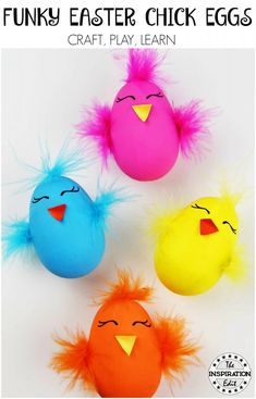These Funky Easter Chick Eggs are a great fun alternative to usual easter crafts. Grab the how to now These Funky Easter Chick Eggs are a great fun alternative to usual easter crafts. Easter Activities, Preschool Crafts, Easter Crafts For Kids, Crafts To Do, Egg Decorating, Decorating Easter Eggs, Valentine's Day Diy, Spring Crafts, Easter Chick