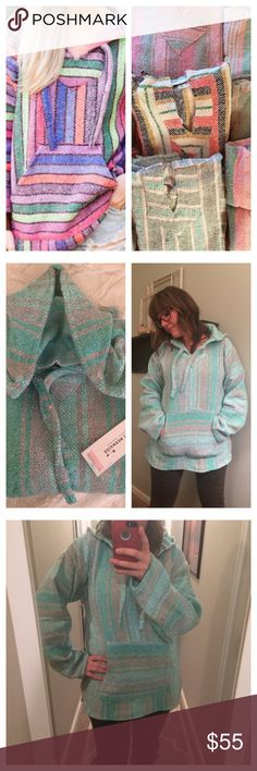 """🔥Just In🔥 Beautiful serape fleeced lined hoodie Each beautiful handmade fleece lined hoodie is one of a kind. These are one size fits all. Front pocket, v-neck, with hood. This listing is for the mint green/pink hoodie pictured. I am a size 6 and 5'5"""" for reference.  Great for cool winter and summer nights!! Tops Sweatshirts & Hoodies"""