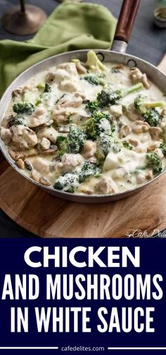Chicken and Mushrooms in a Creamy White Wine Sauce takes under 30 minutes to serve up. This dish is the perfect busy weeknight chicken dinner that the whole family can enjoy. Or serve this up for entertaining guests. Side Recipes, Dinner Recipes, Healthy Recipes, Yummy Recipes, Keto Recipes, Yummy Food, English Dishes, English Food, Tasty Dishes