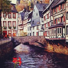 Monschau, Germany.  Wonderful day trip from Geilenkirchen for delicious crepes and a visit to the glass factory.  Sit in the restaurant and watch kayakers come through and then a hike through the village to the factory.  Beautiful German village year-round!