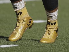 Cleats of Carolina Panthers' Cam Newton are seen as he warms up before the NFL Super Bowl 50 football game against the Denver Broncos Sunday, Feb. 7, 2016, in Santa Clara, Calif. (AP Photo/Gregory Bull) Gregory Bull, AP