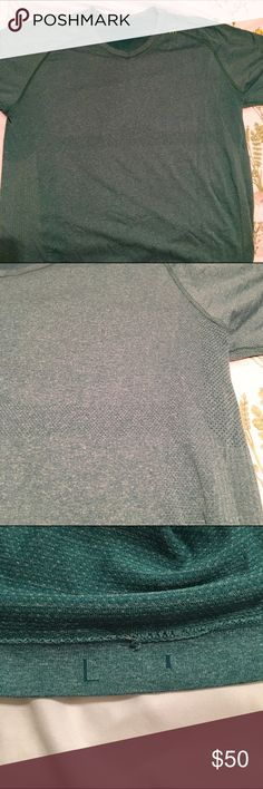 Lululemon men's metal vent short sleeve v neck Really great green color. Only worn once. My husband is afraid of color. Lol. No snags. Barely worn. lululemon athletica Shirts Tees - Short Sleeve