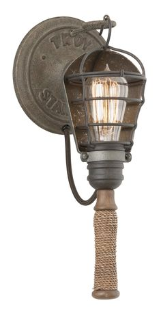 Buy the Troy Lighting Rusty Galvanized Direct. Shop for the Troy Lighting Rusty Galvanized Yardhouse 1 Light Wall Sconce with Natural Manila Rope and save. Outdoor Ceiling Fans, Outdoor Wall Lighting, Wall Sconce Lighting, Restaurant Bar, Cabin Style Homes, Vintage Industrial Lighting, Industrial Interiors, Industrial Style, Troy Lighting