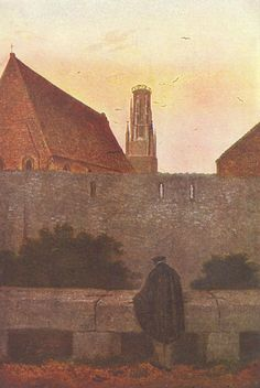 "romanticism-art: ""By the townwall, Caspar David Friedrich "" Caspar David Friedrich Paintings, Casper David, Creepy Art, William Turner, Art Database, Famous Artists, Paintings For Sale, Dresden, Artist Art"