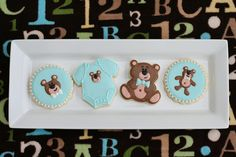Baby onesie teddy bear cookies