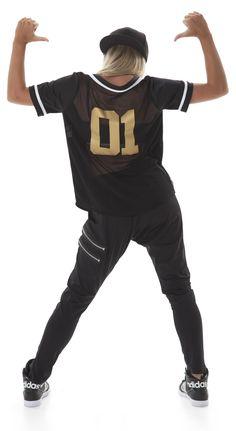 Hip hop dance costume trend: The baseball jersey.