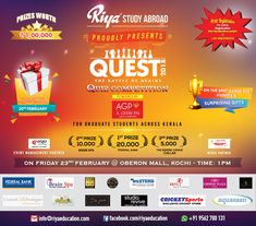 """Quest 2K18 - Quiz Competition !!! We Riya Study Abroad would like to turn your attention in to """"Quest 2K18"""" a Quiz Competition for Graduate Students across Kerala. Free Registration !!! Visit our website http://riyaeducation.com/quiz or call +91 9562700131."""