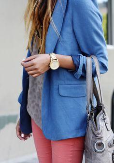 blue blazer, coral pants, watch