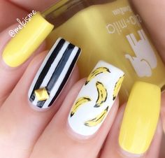 banana nails! #banana #banananails #fruitnails