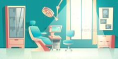 Buy Dentist Equipped Office Interior Cartoon Vector by vectorpocket on GraphicRiver. Dentists office cartoon vector empty interior with comfortable chair, surgical light unit, ultrasonic diagnostic appa. Dentist Cartoon, Dentist Logo, Nurse Cartoon, Office Cartoon, Cartoon Background, Sketch Inspiration, Flat Color, Blue Abstract, Office Interiors