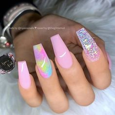 Nails pastel 🌸✨🌸✨🌸 Pastel Pink, Multi-Color Accent and Glitter on long Coffin Na. 🌸✨🌸✨🌸 Pastel Pink, Multi-Color Accent and Glitter on long Coffin Nails 👌 Nail Swag, Pink Acrylic Nails, Gel Nails, Nail Nail, Pink Stiletto Nails, Glitter Acrylics, Acrylic Summer Nails Coffin, Blush Nails, Glitter Accent Nails