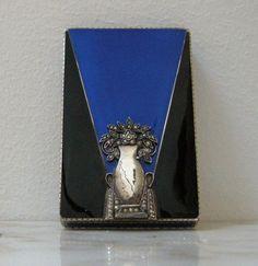 Vintage Sterling Marcasite GUILLOCHE Enamel ART DECO Compact Box COBALT BLACK