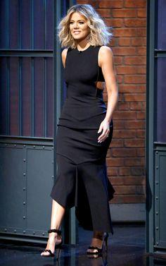 Khloe Kardashian in a black cutout Alexandre Vauthier dress