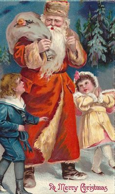 ~ Santa and children. Christmas Fonts, Merry Christmas, Father Christmas, Christmas Printables, Christmas Things, Christmas Decor, Xmas, Vintage Christmas Images, Antique Christmas