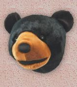 Black Bear Plush Trophy Head log cabin wall decorations. Add a friendly face to your child's room decor with the Black Bear Plush Mini Trophy Head. Made from 100% polyester plush fur, this charming bear head will greet them with a smile.