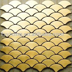fish scales gold stainless steel metal mosaic tile -fish shape polished finished metal tile