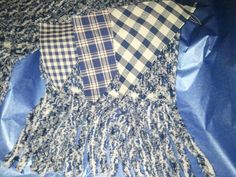 Faux chenille scarf - shown after washing with the three fabrics in their original state - one of each fabric on each side of base (off-white duck) fabric - fringe & inch channels cut with Olfa chenille cutter Rag Quilt, Quilts, Online Scrapbook, White Ducks, Fabric Manipulation, Plaid Scarf, Sewing Projects, Scarves, Fabrics