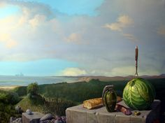 Still life in the open by Ole Fick  (Danish b. 1948)  Is a Painter / graphic designer