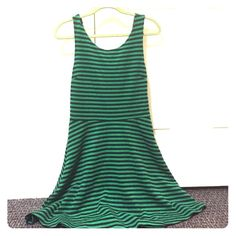 AE green and navy stripe cotton dress kelly green and navy stripe cotton dress. Criss-cross in the back. Length about three fingers above my knee. Super comfy and can still wear a regular bra! American Eagle Outfitters Dresses