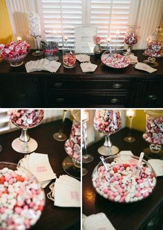 Love is Sweet. Please take home some treats. Cute wedding favor idea on a small budget.