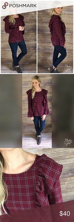 Cranberry Ruffled Plaid Top Flare Bell Sleeved Plaid Top with Ruffled Detailing.  70%COTTON 30%POLYESTER WOVEN TOP. Also available in Black Plaid Tops Blouses
