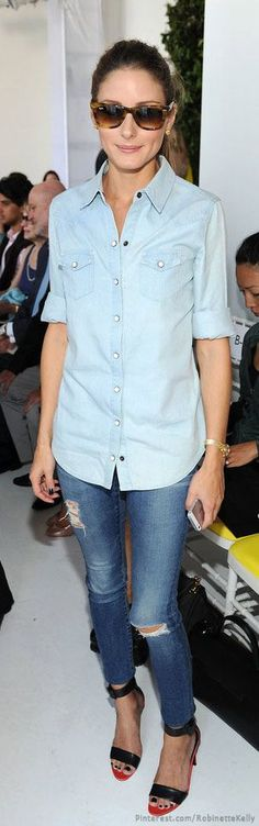 Olivia Palermo worked denim on denim with black ankle-strap sandals and retro sunglasses