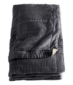 H&M Dark Grey Velvet Throw