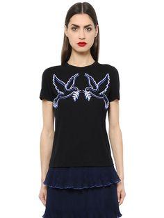 메리 카트 란 쥬 - 이벤은 자수 티셔츠를 입었습니다 - 티셔츠 - 블랙 - 루시아
