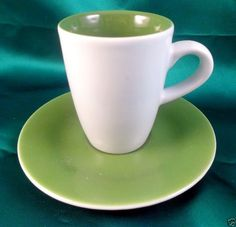 """KAHLA GERMANY 2 + oz Coffee Espresso cup & 4"""" saucer plate Green & White"""